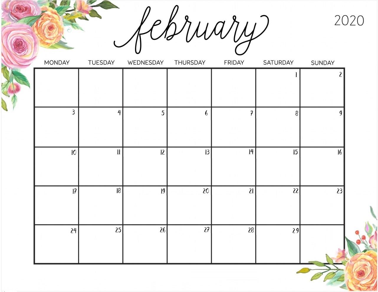 Floral February 2020 Cute Calendar