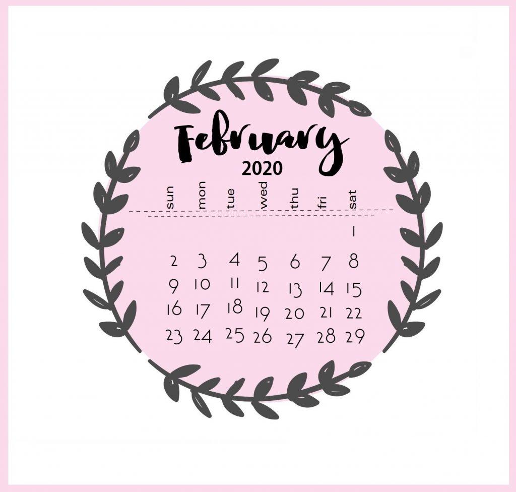 Free February 2020 Calendar Floral