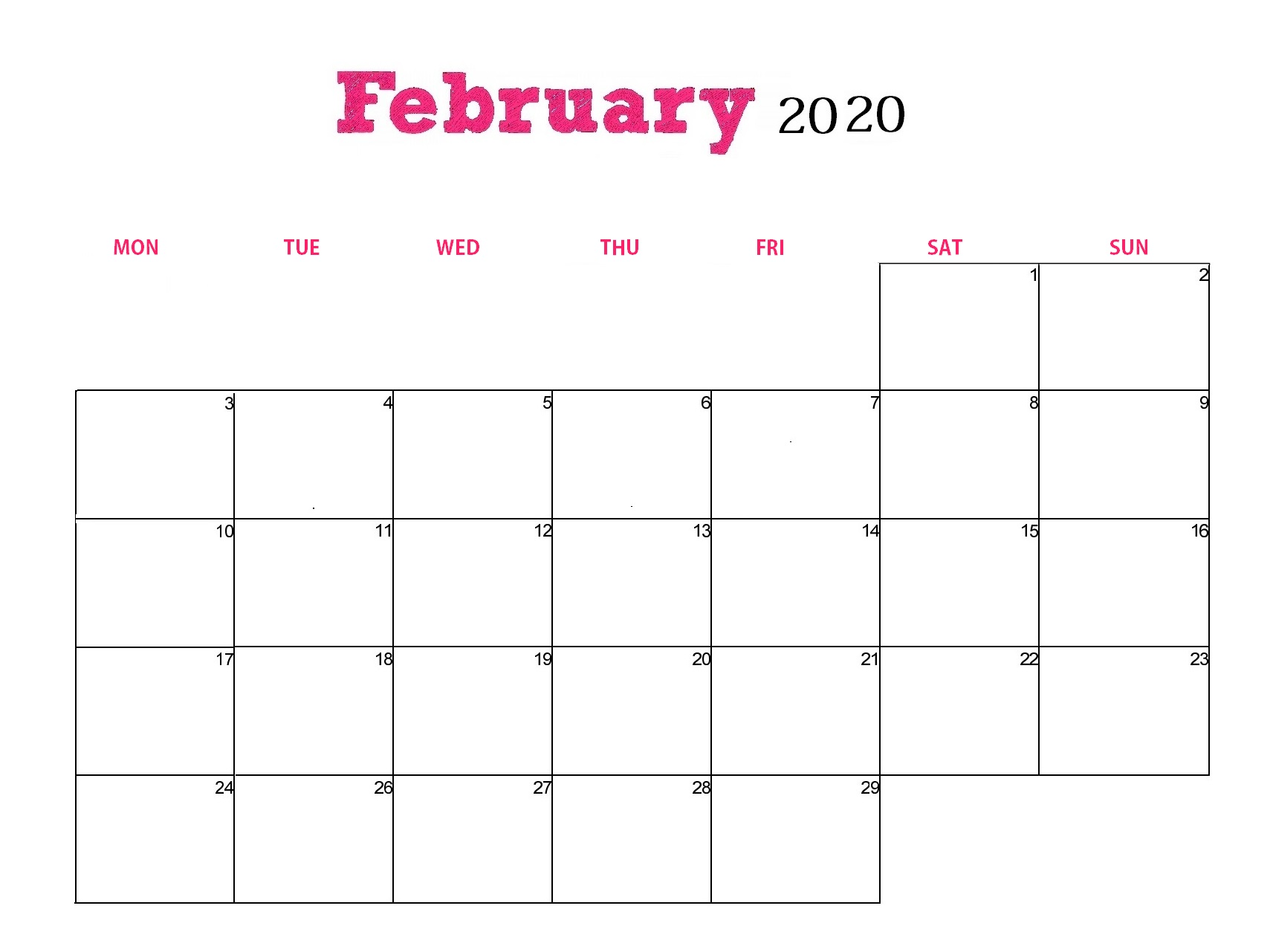 Free February 2020 Calendar Template