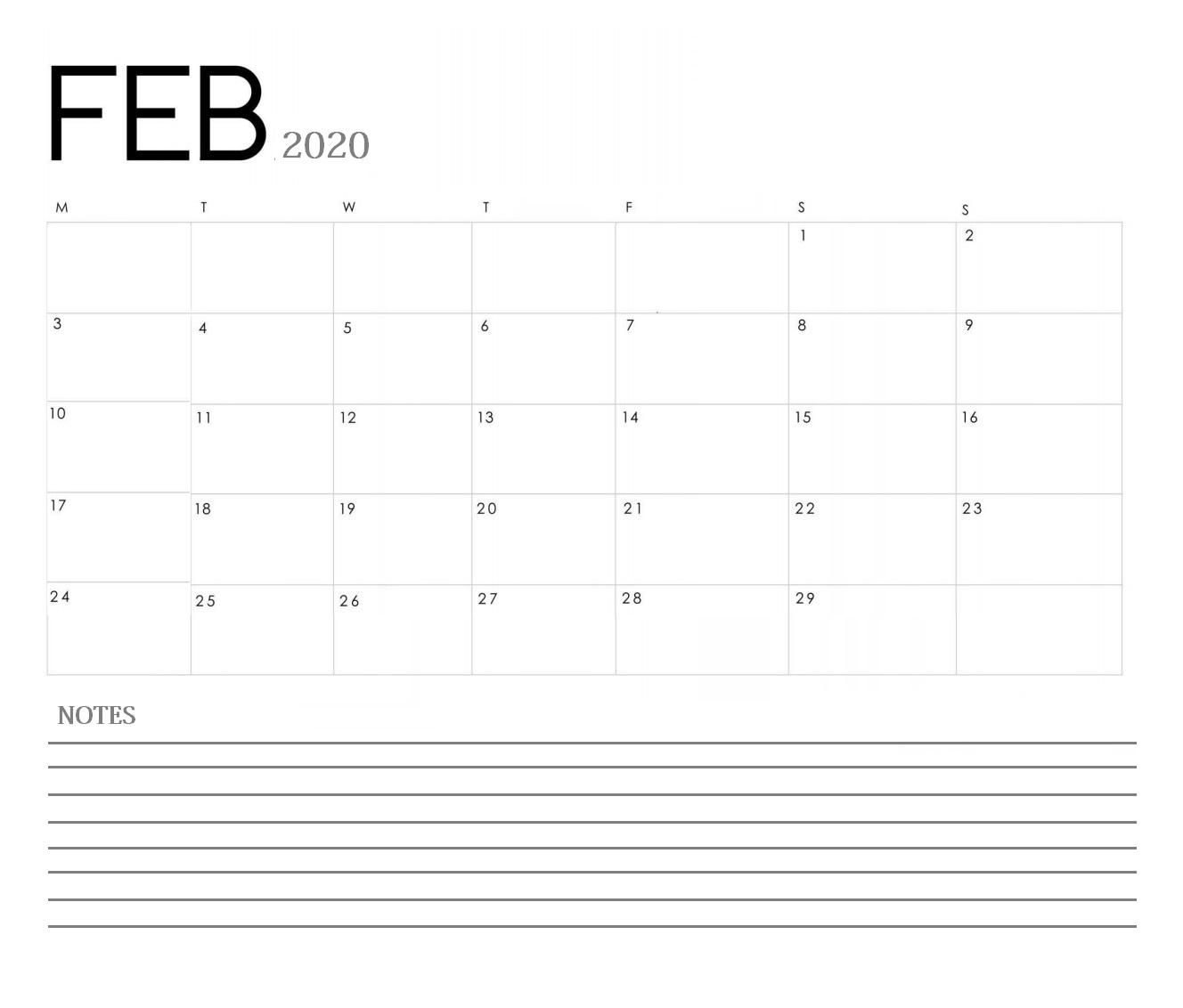 Free February 2020 Desk Calendar