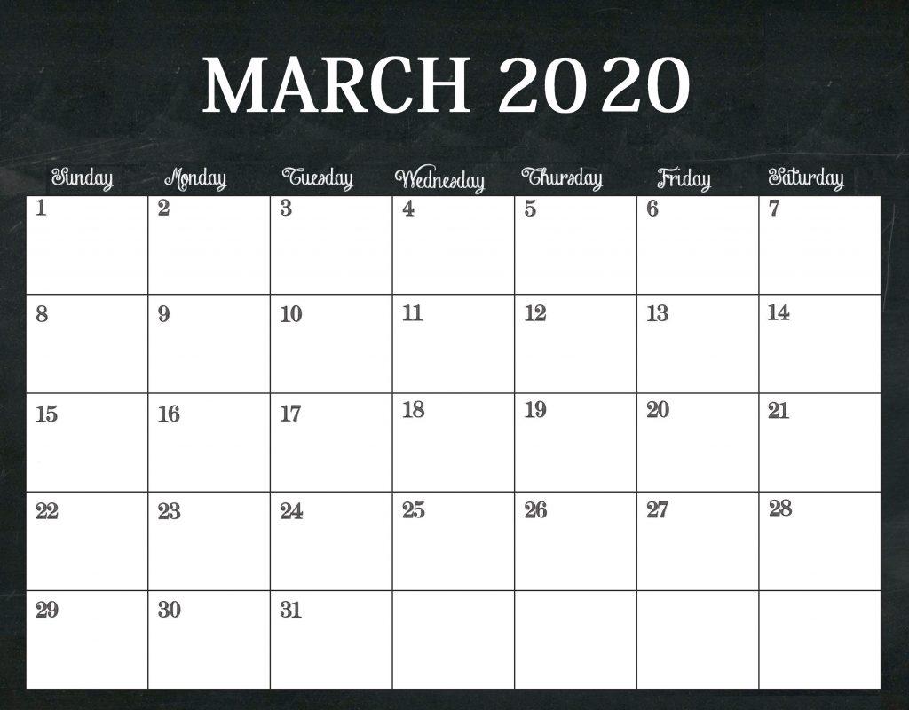 Free March 2020 Edit Calendar