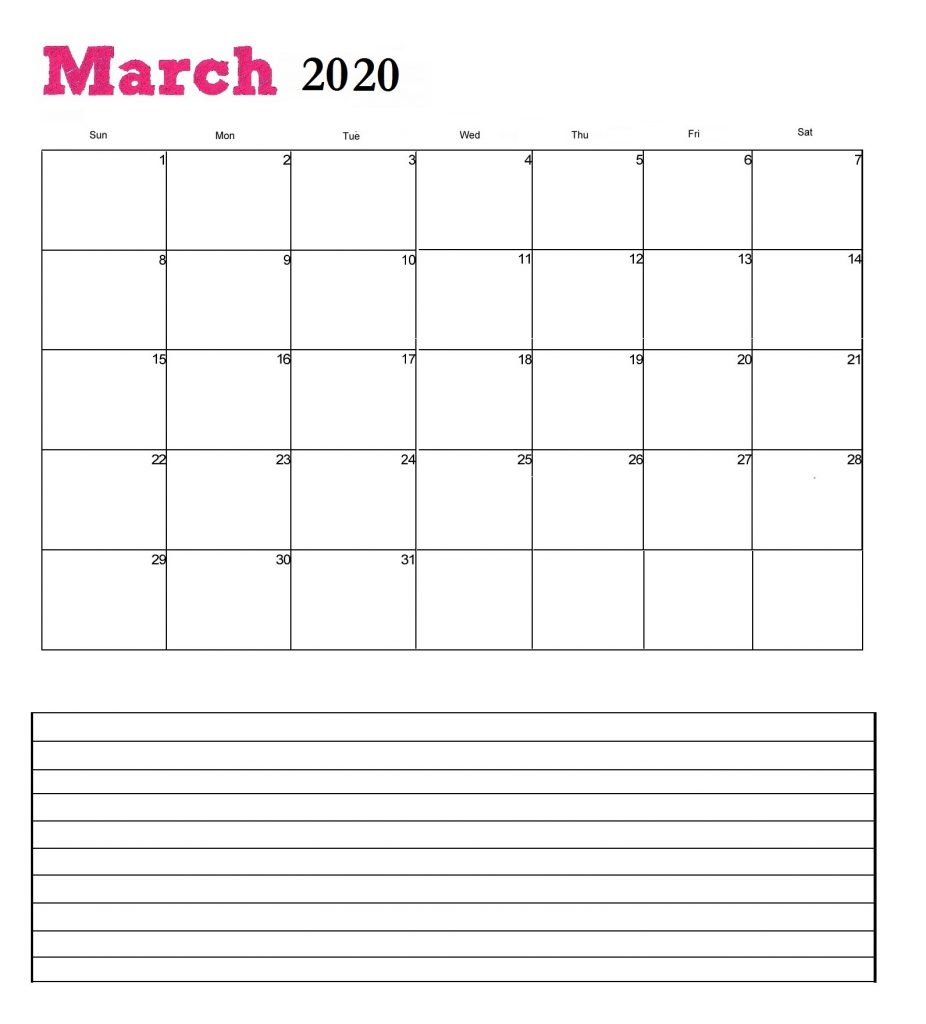 Free March 2020 Office Wall Calendar