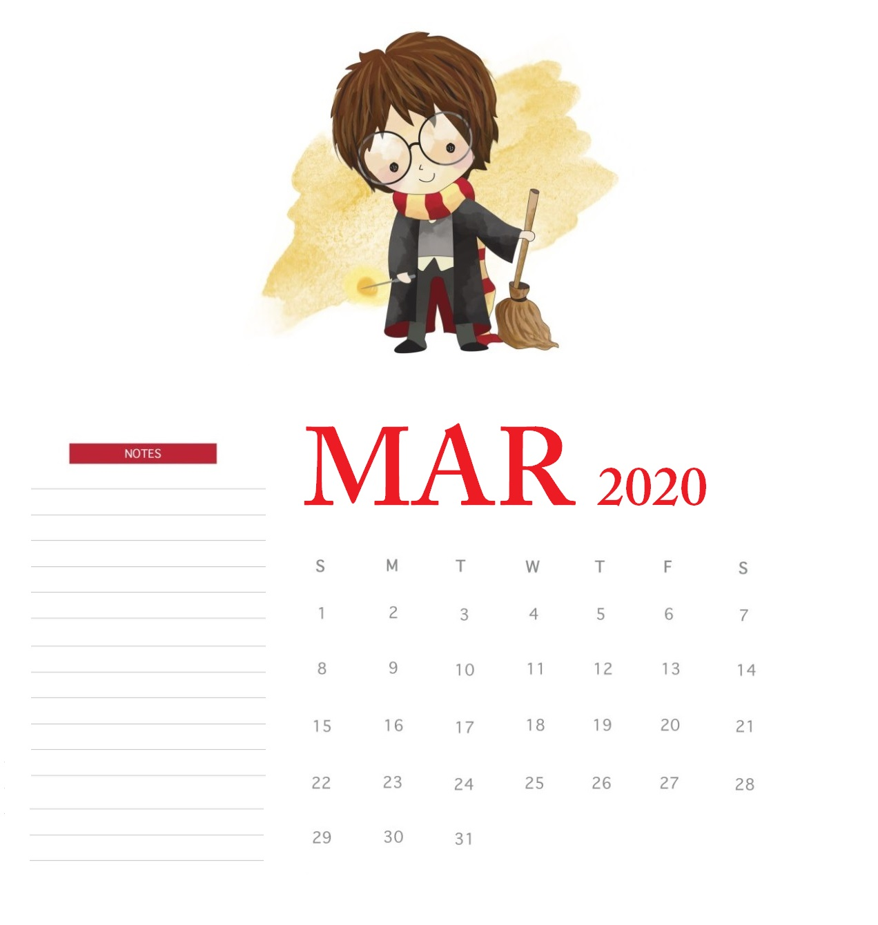 Harry Potter March 2020 Calendar