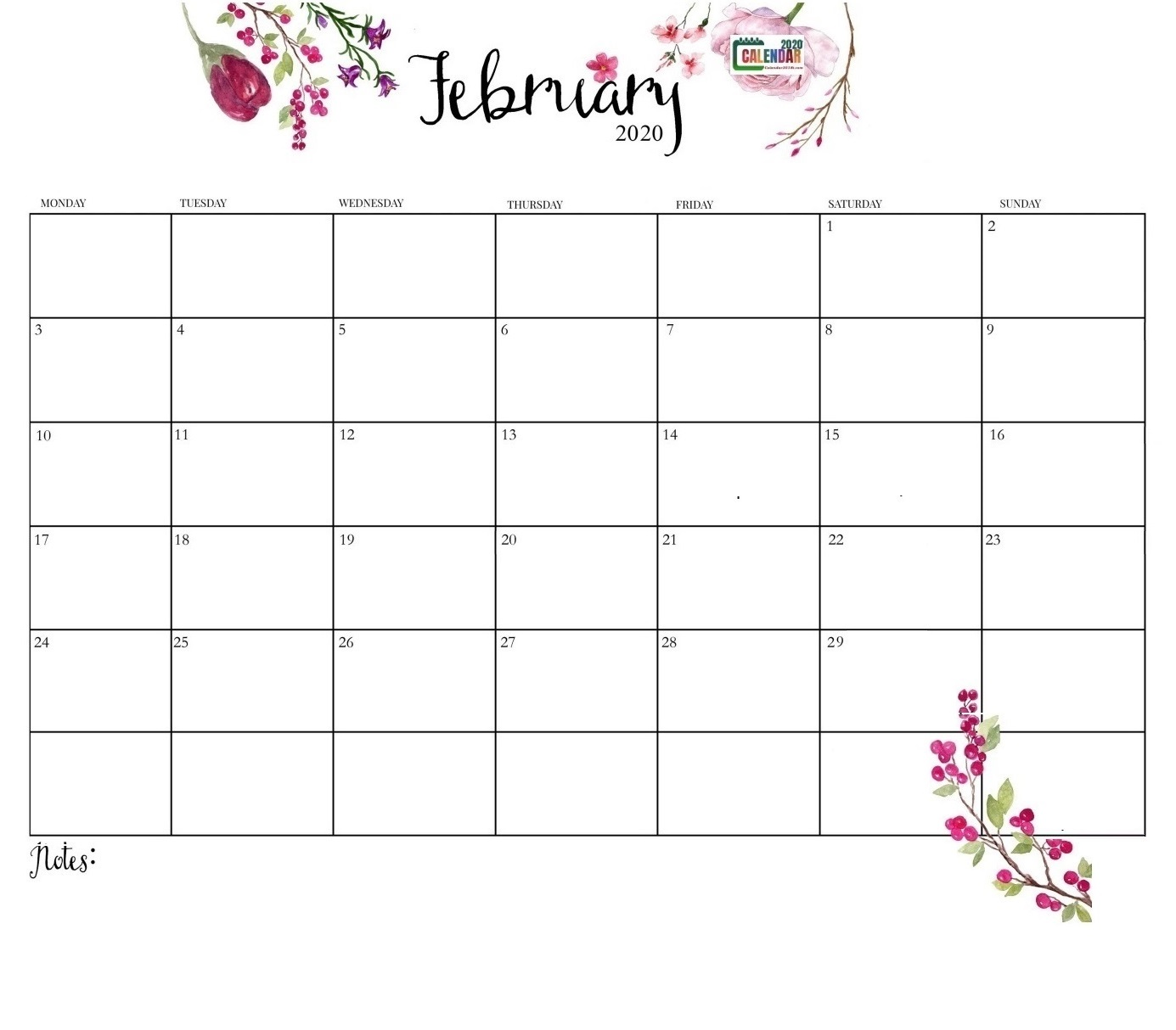 Latest February 2020 Cute Calendar