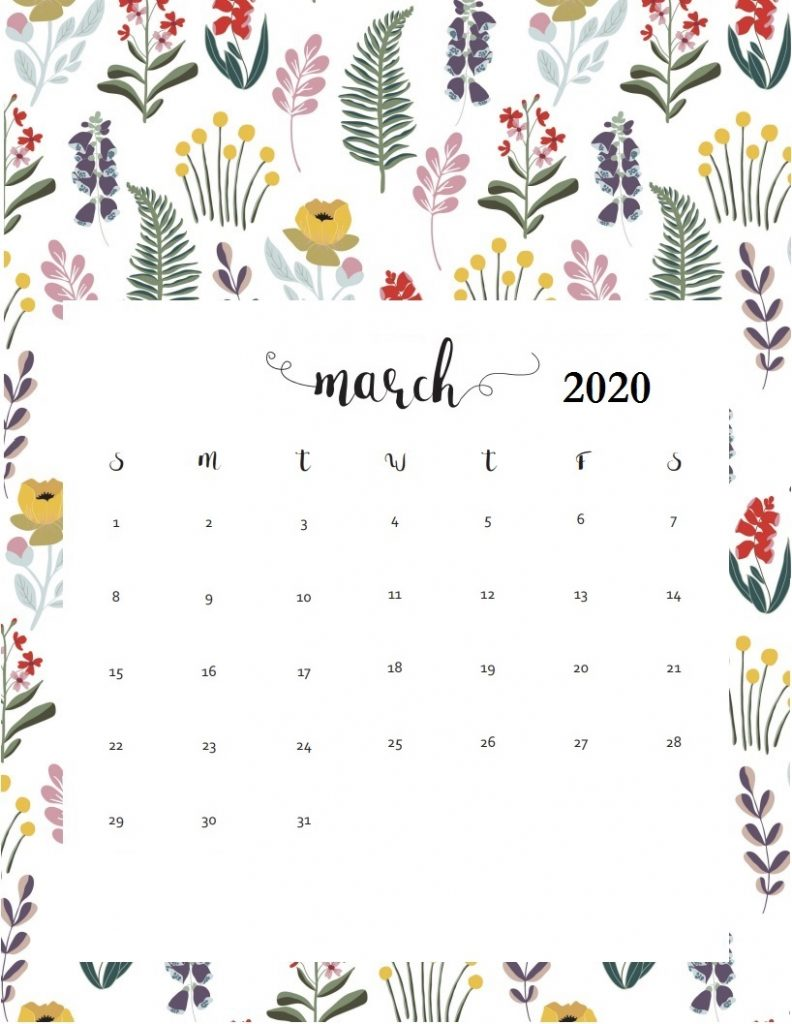 Latest March 2020 Wall Calendar