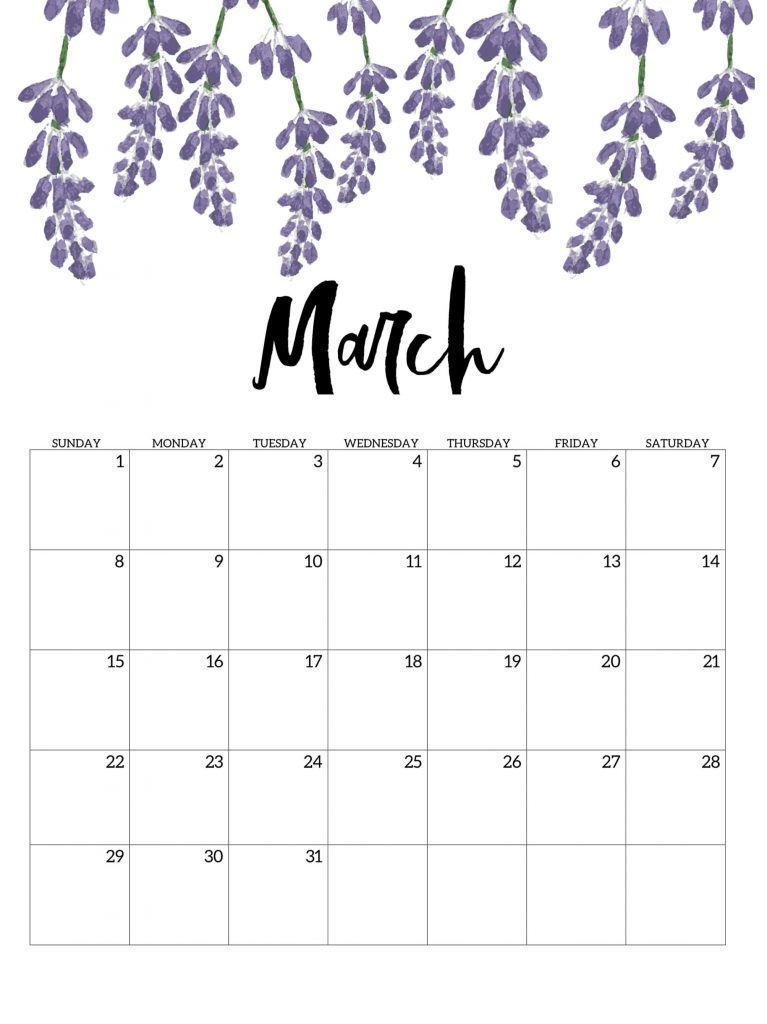 March 2020 Blank Calendar With Notes