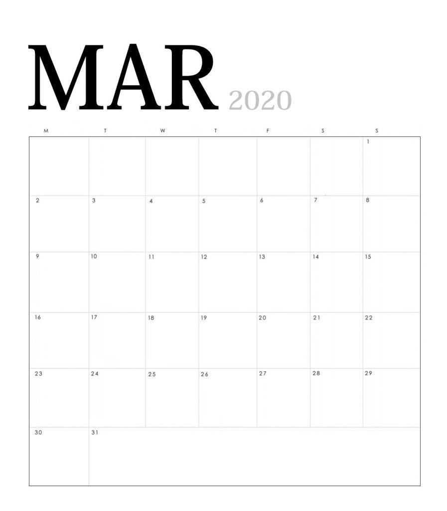 March 2020 Blank Desk Calendar