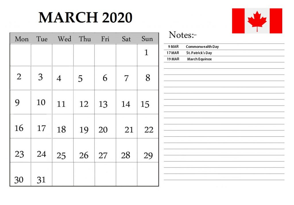 March 2020 Calendar Canada