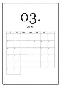 March 2020 Calendar Office Wall