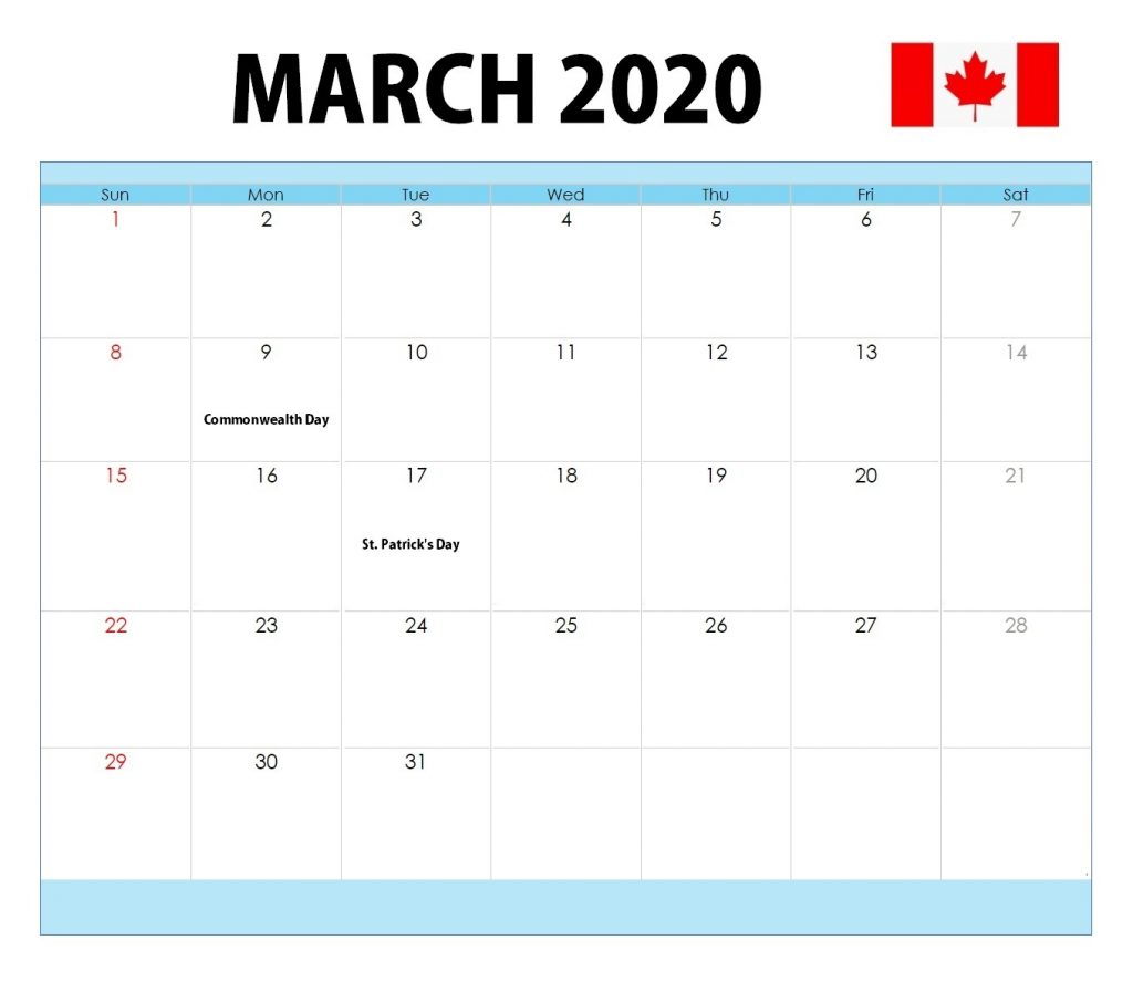 March 2020 Canada Bank Holidays Calendar