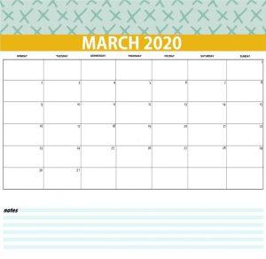 March 2020 Desk Calendar Printable