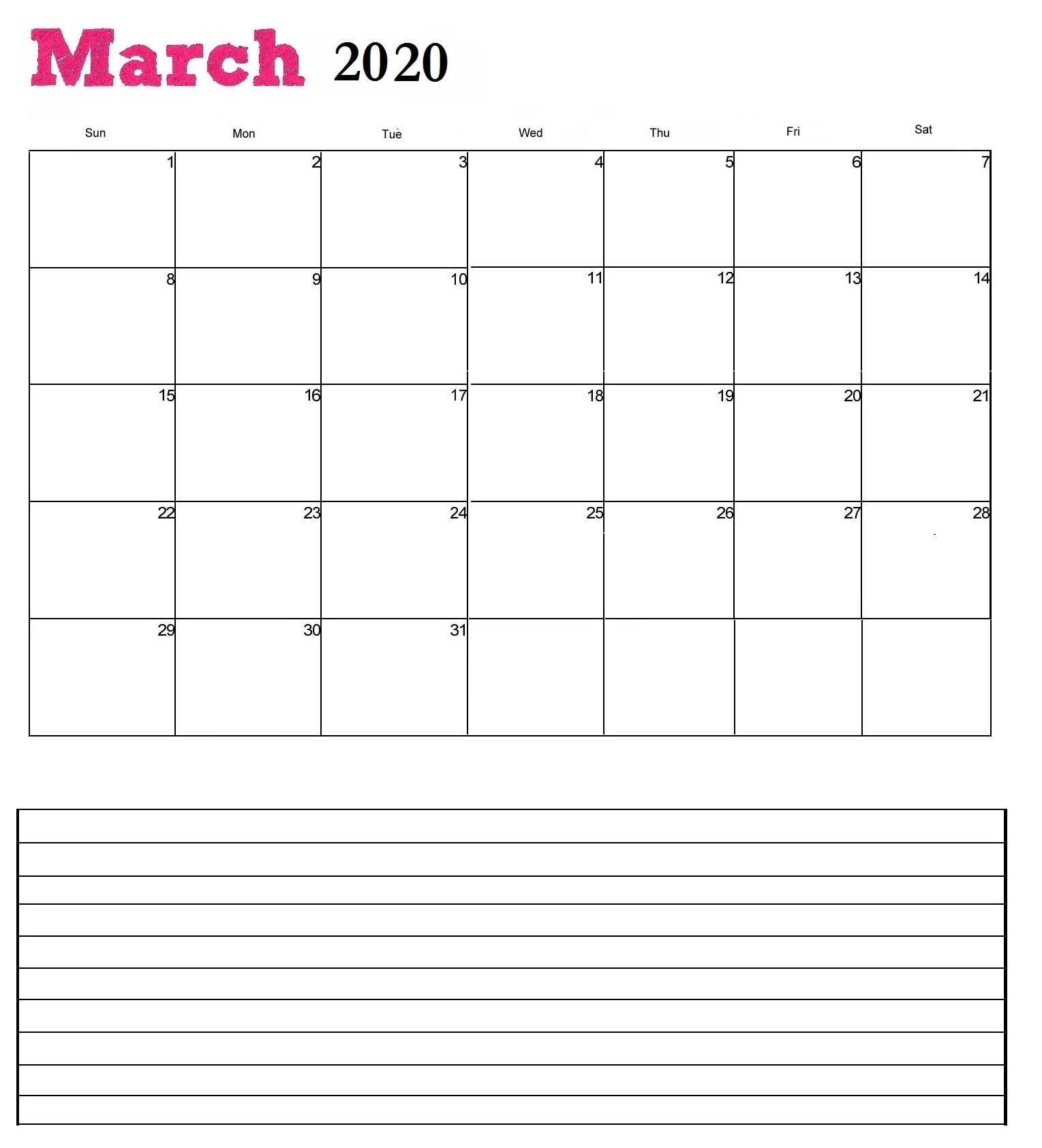 March 2020 Desk Calendar