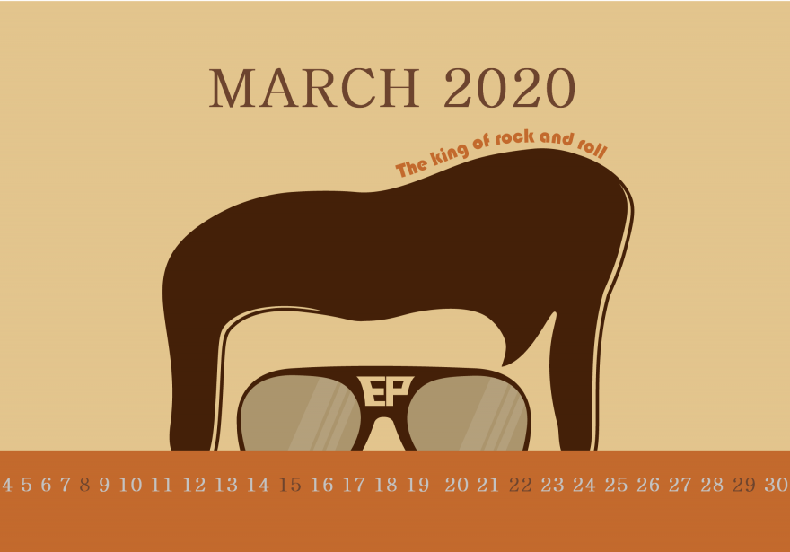 March 2020 Desktop Calendar