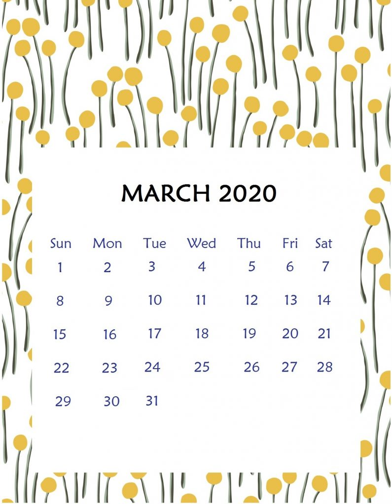 March 2020 Floral Wall Calendar