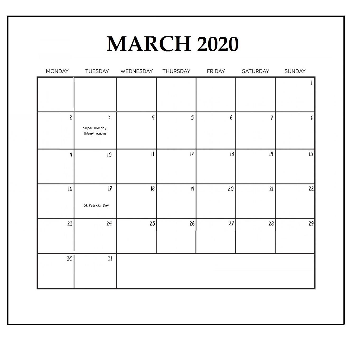 March 2020 Holidays Calendar