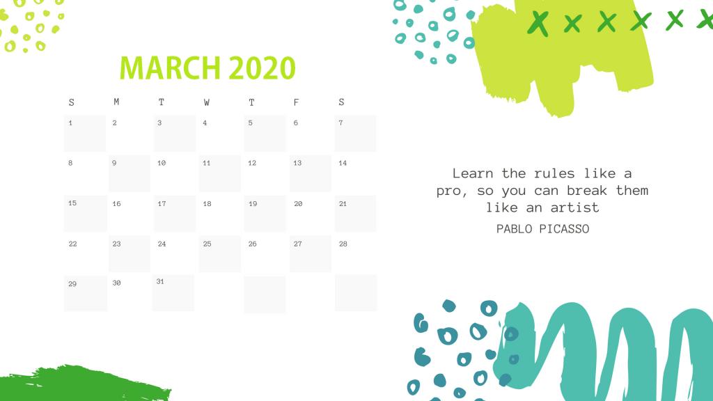 March 2020 Office Desk Calendar