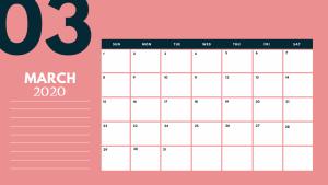 March 2020 Table Calendar Template
