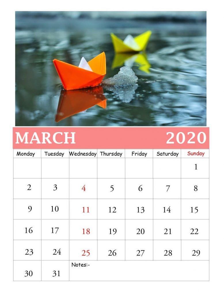 March 2020 Wall Calendar With Photos