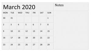 March 2020 Worksheets Calendar