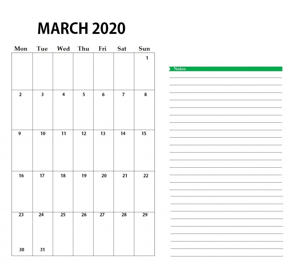 Personalized March 2020 Calendar