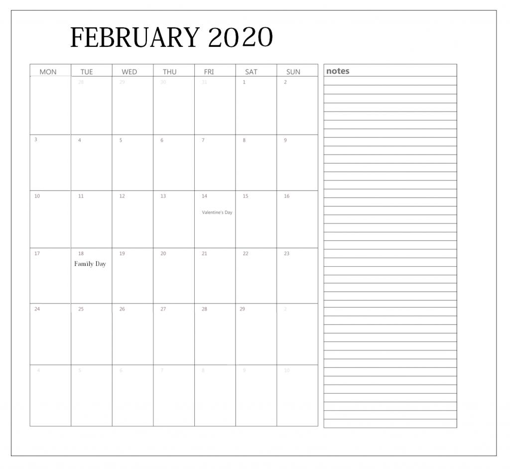 Print February 2020 Calendar Editable
