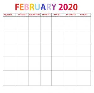 Printable February 2020 Blank Template