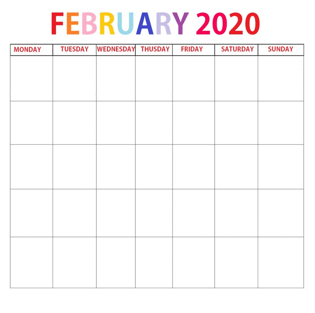 Printable February 2020 Blank Template