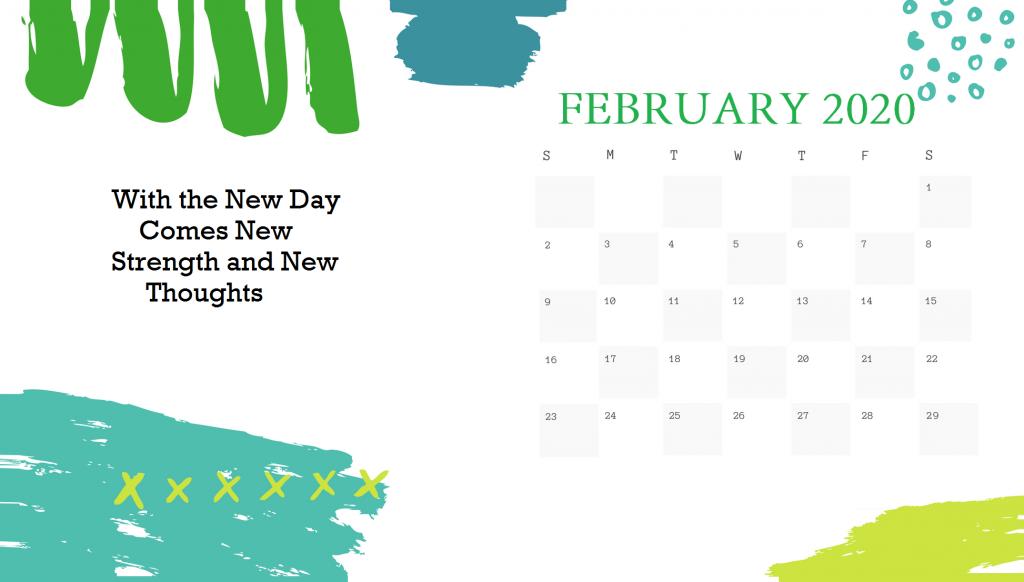 Printable February 2020 Cute Calendar