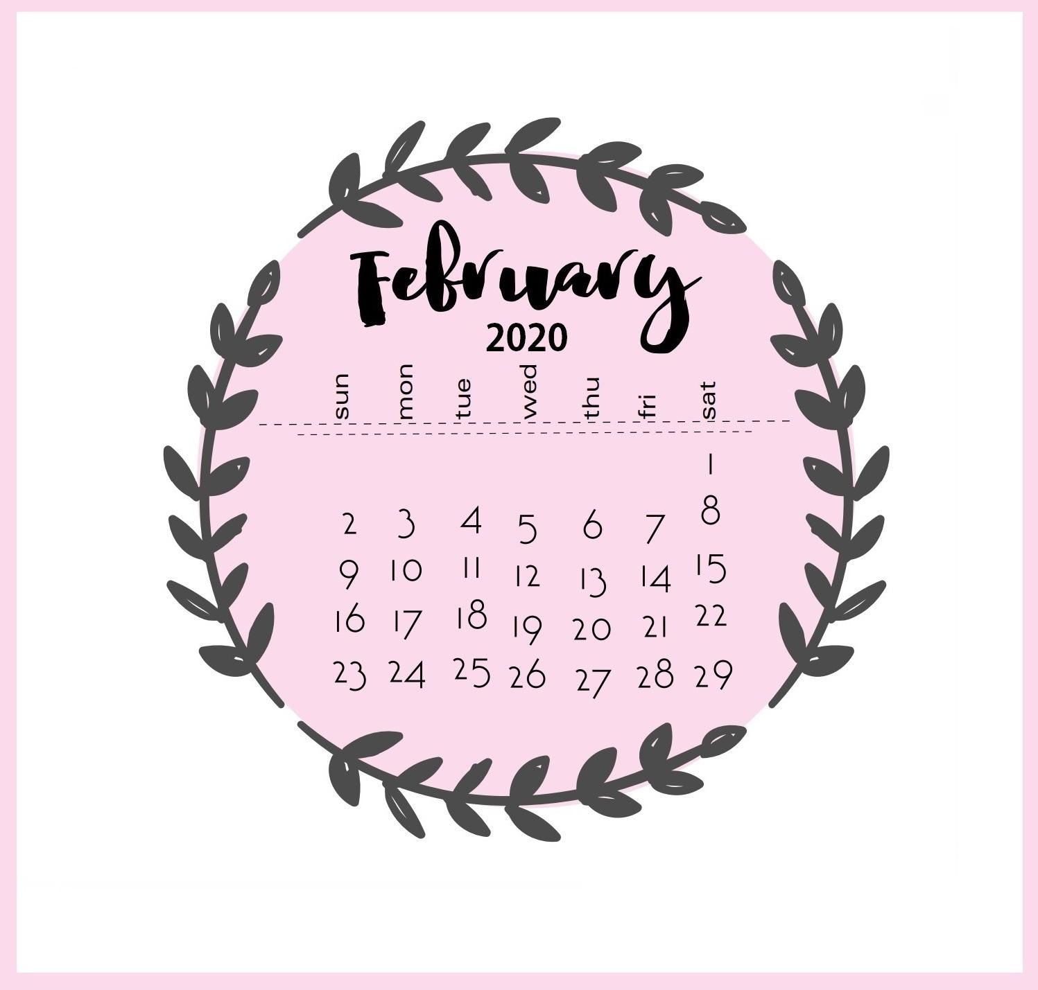 Printable February 2020 Desk Calendar