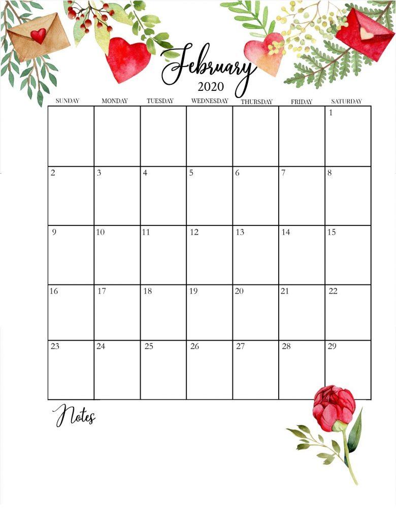Printable February 2020 Floral Calendar