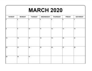 Printable March 2020 Blank Calendar