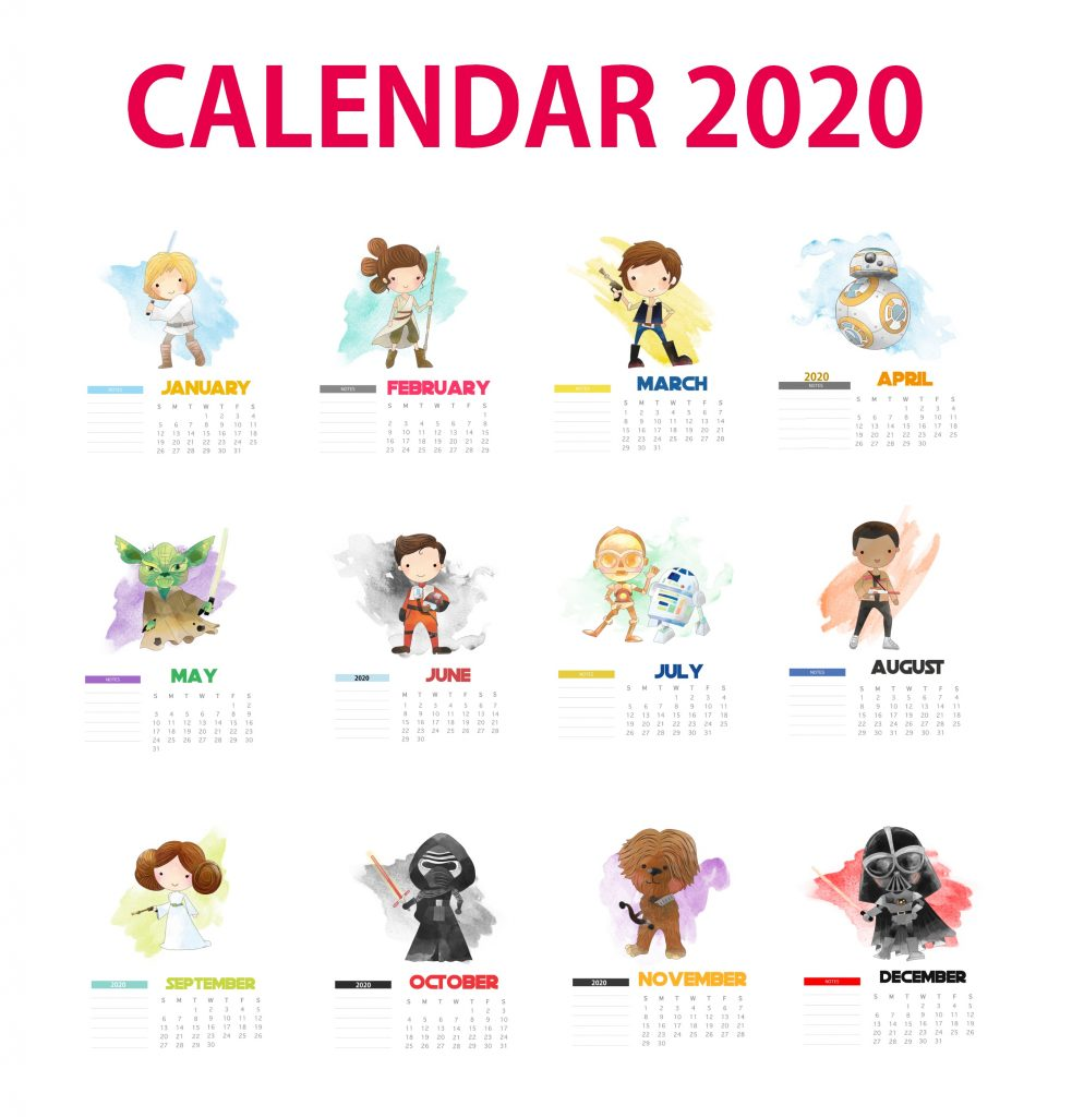 Star Wars 2020 Yearly Calendar