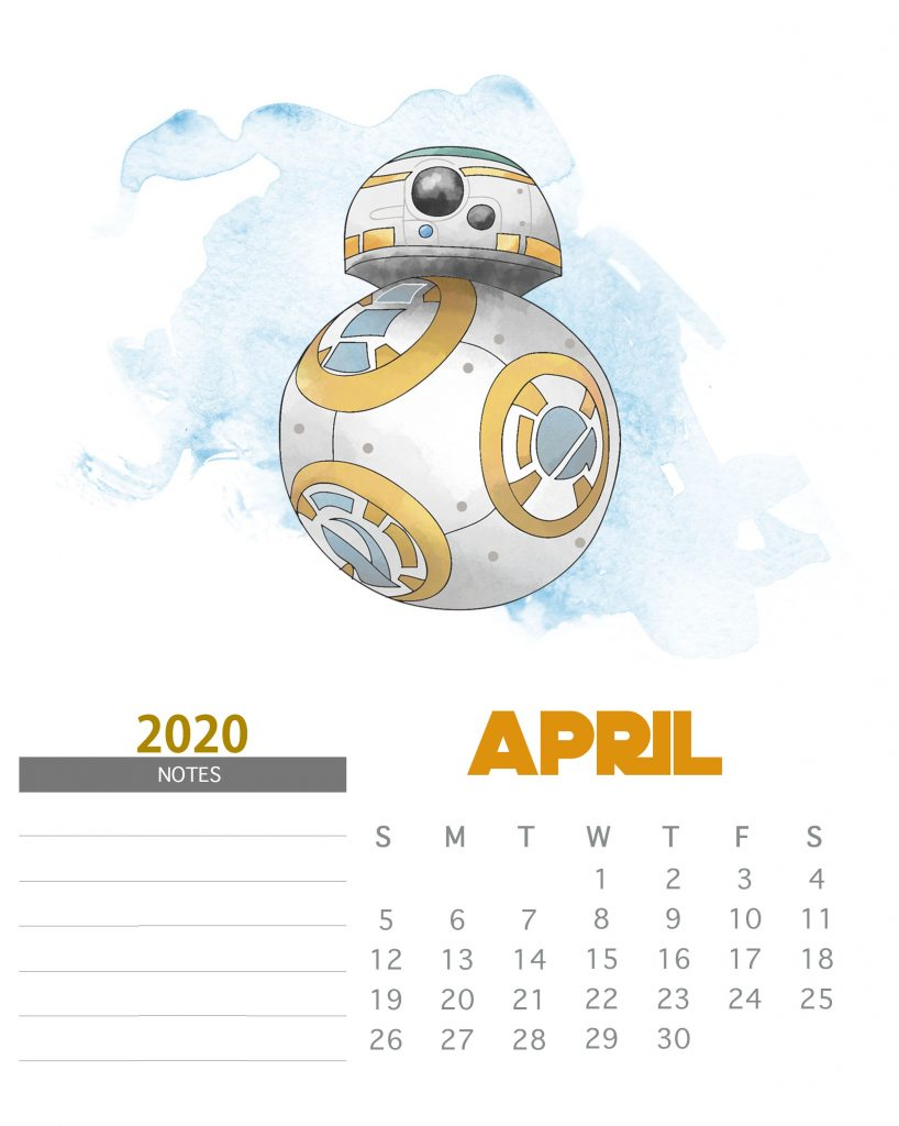 Star Wars April 2020 Calendar