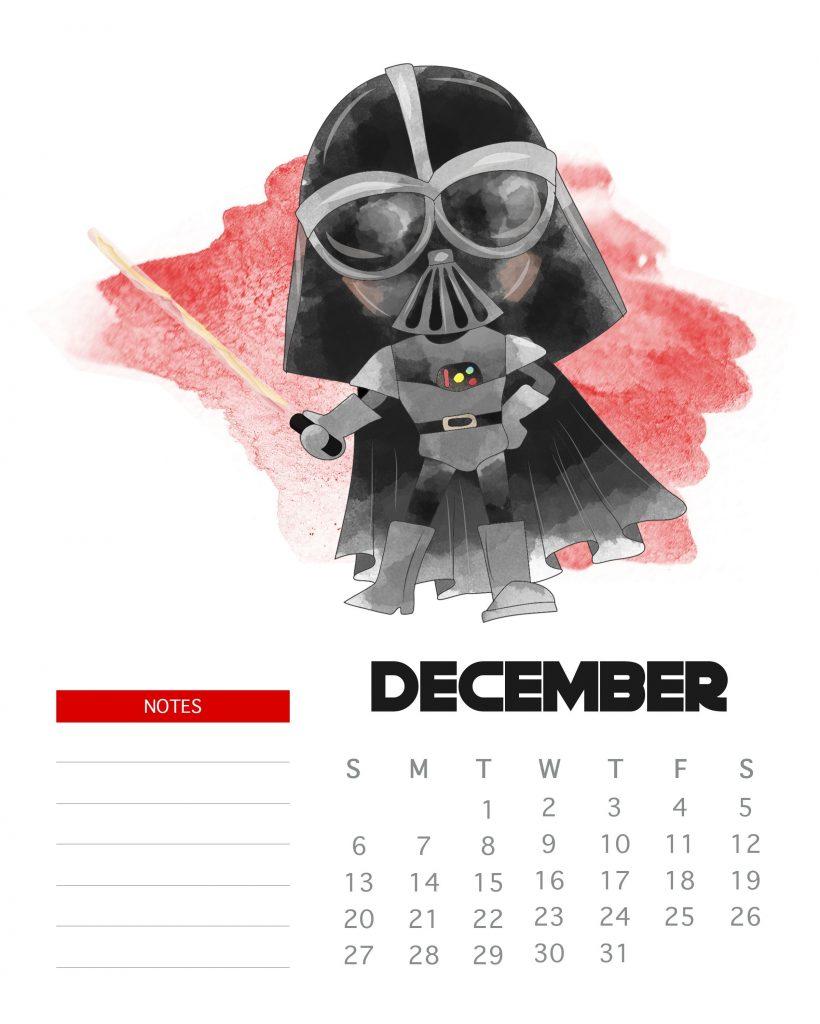 Star Wars December 2020 Calendar