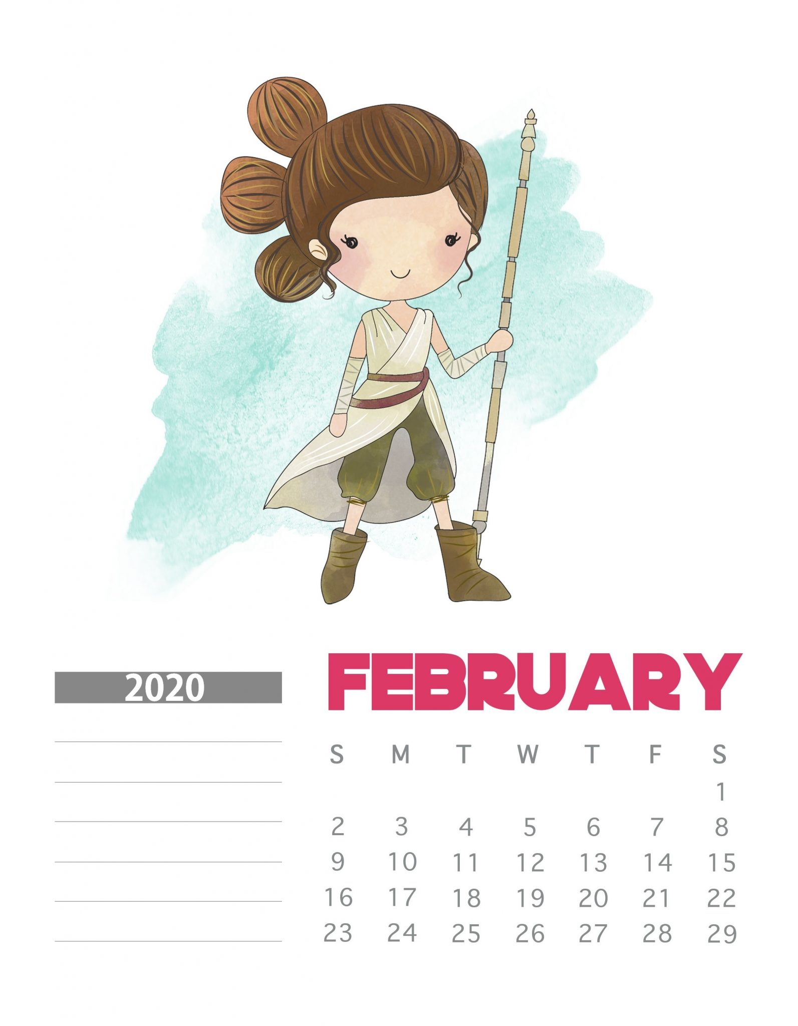 Star Wars February 2020 Calendar Design