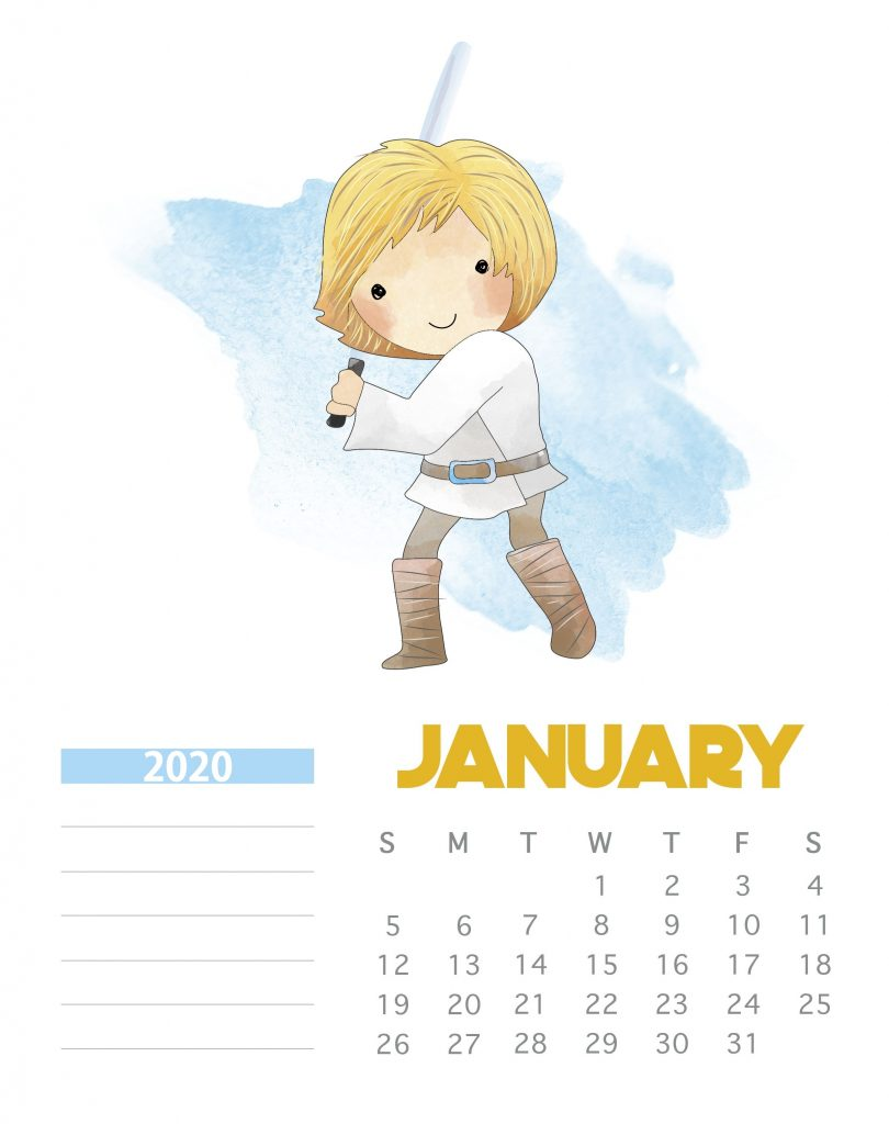 Star Wars January 2020 Calendar