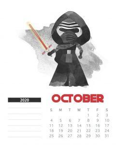 Star Wars October 2020 Calendar