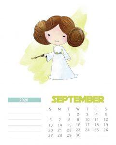 Star Wars September 2020 Calendar