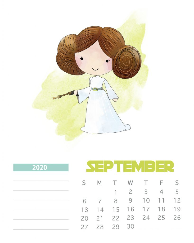 Star Wars September 2020 Calendar