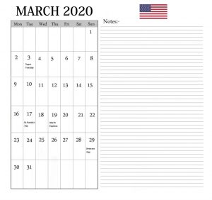 The United States March 2020 Holidays Calendar