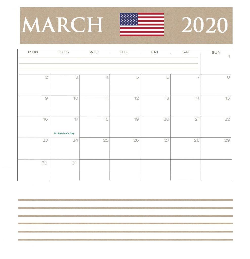USA March 2020 Bank Holidays Calendar