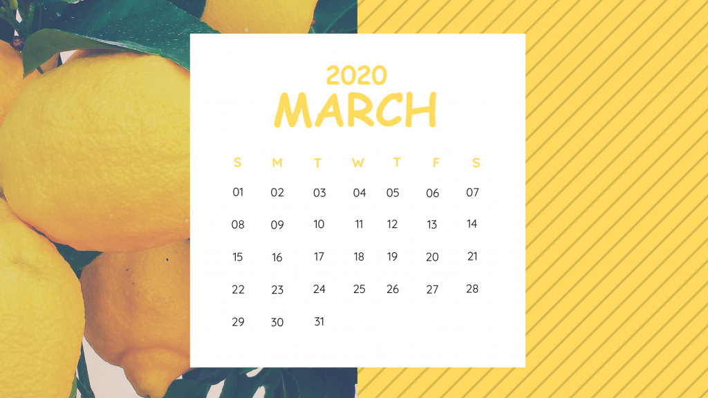 Unique March 2020 Calendar