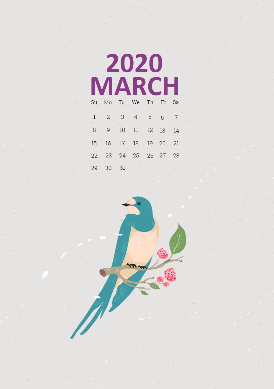 Unique March 2020 iPhone Calendar