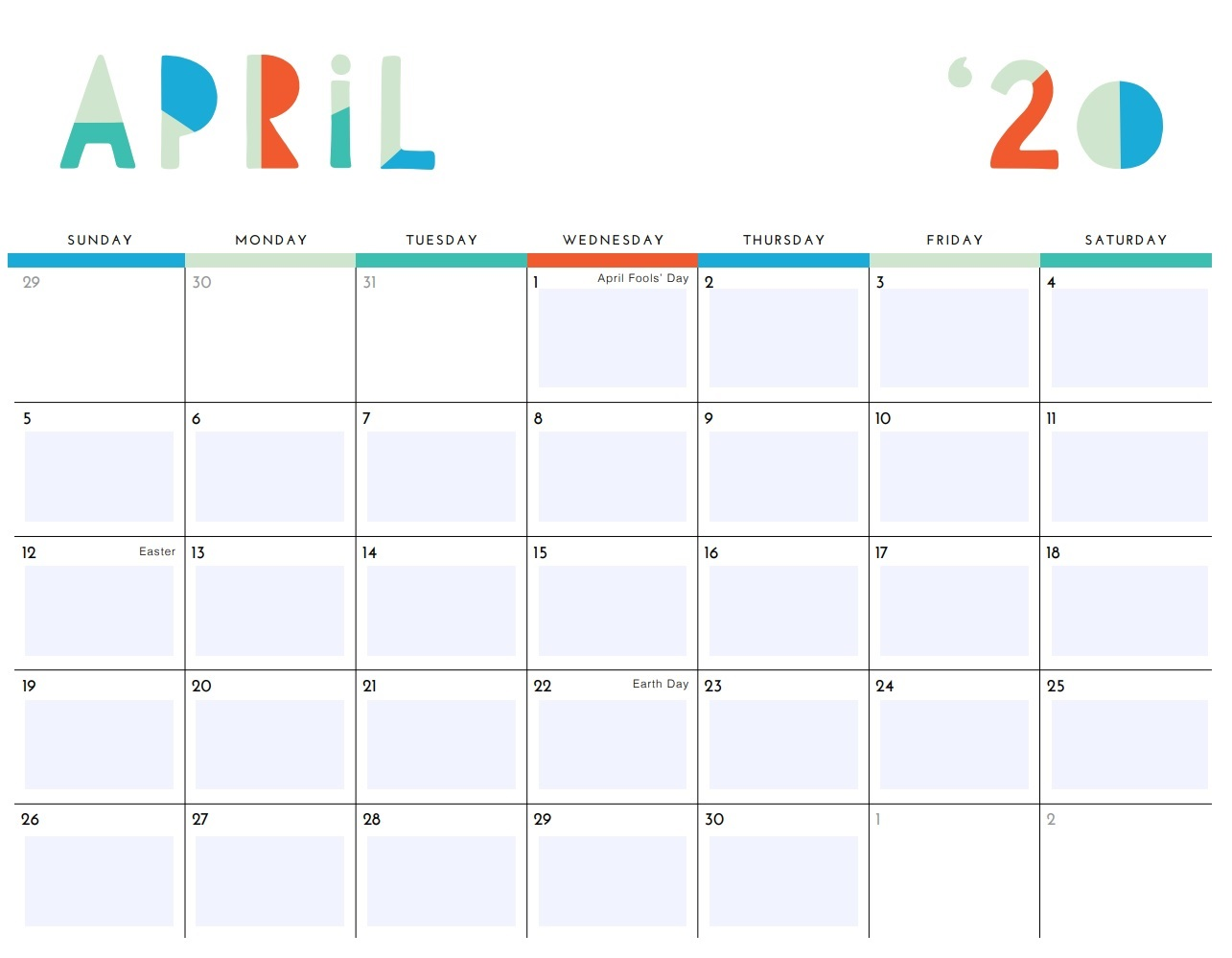 April 2020 Desk Calendar