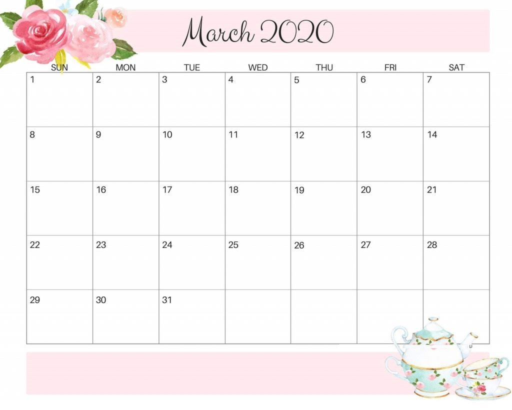 Beautiful March 2020 Floral Calendar