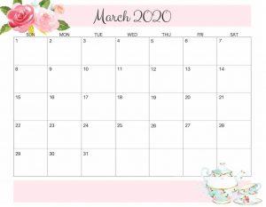 Floral March 2020 Desk Calendar