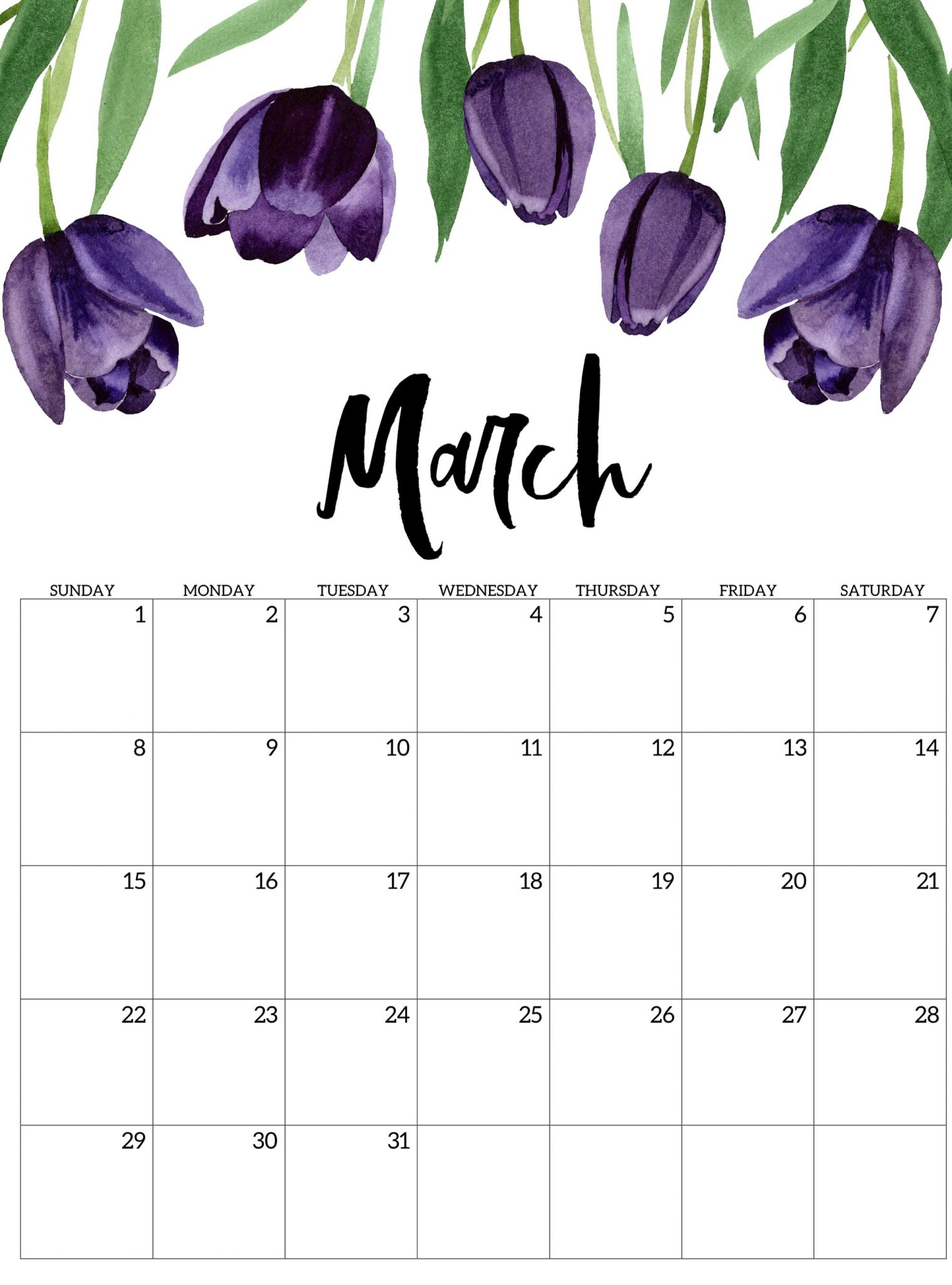 Floral March 2020 Wall Calendar