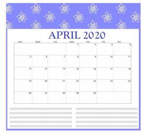 Free April 2020 Calendar Template
