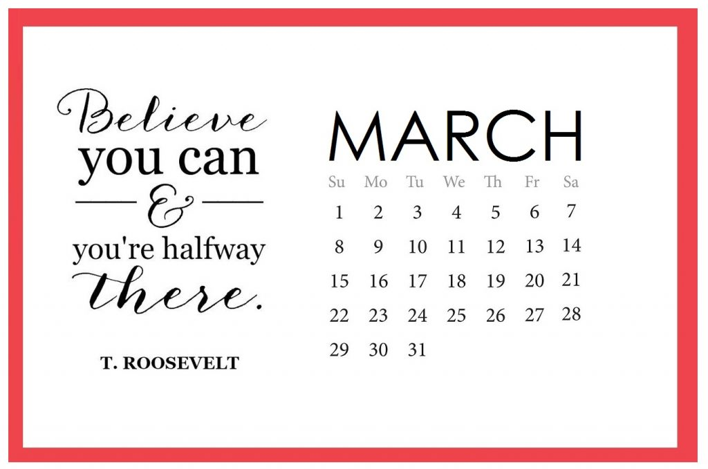 Free March 2020 Quotes Calendar