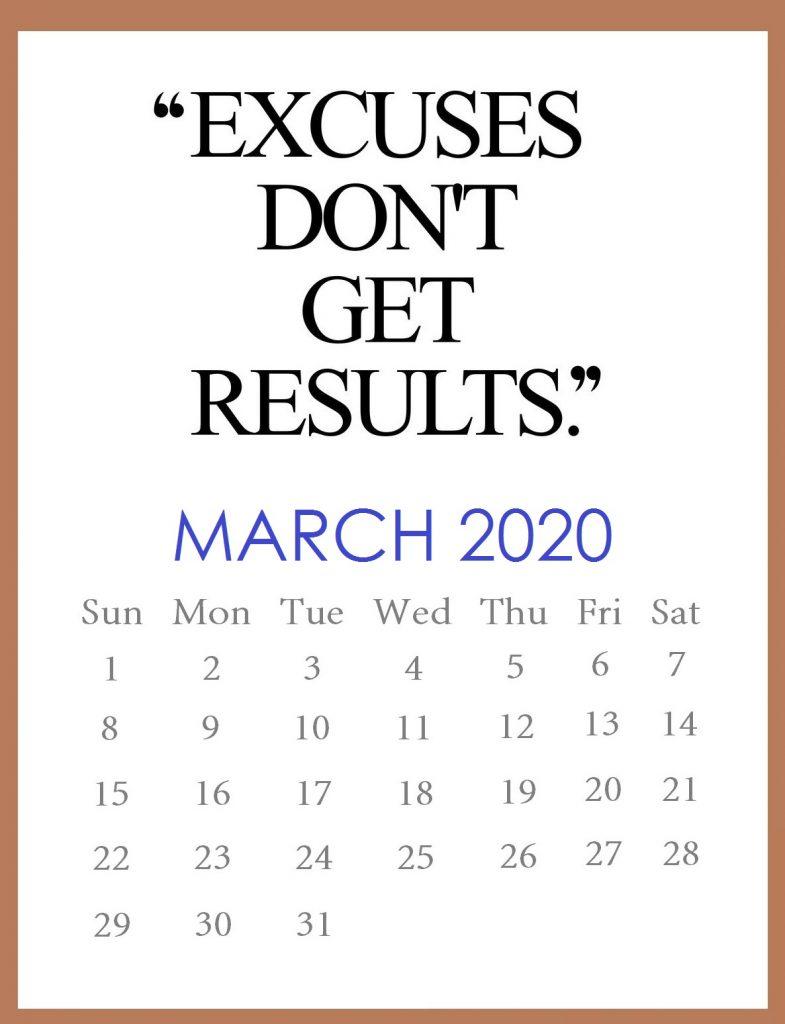 Inspirational March 2020 Calendar